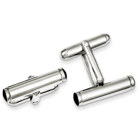 Sterling Silver Black Enameled Bar Cufflinks
