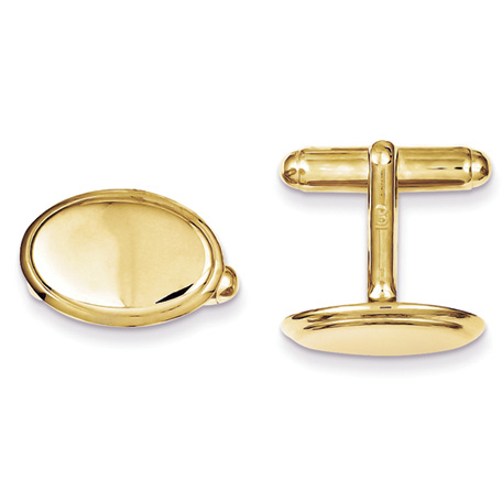 Gold-Plated Sterling Silver Oval Cufflinks
