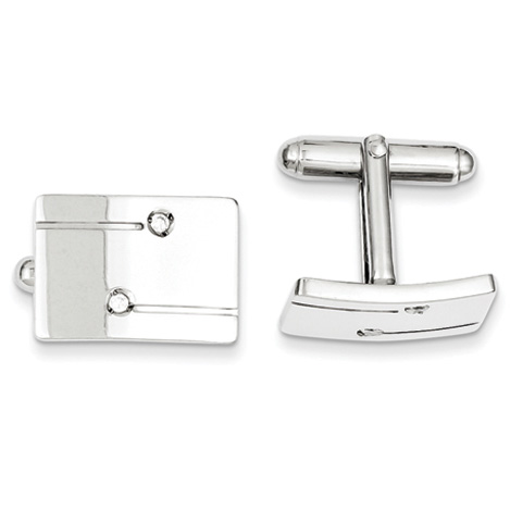 Sterling Silver Rectangle with CZ Cufflinks