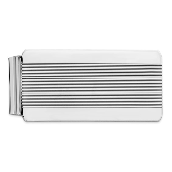 Sterling Silver Money Clip with Fine Grooves