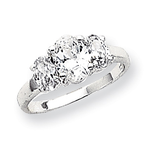 3-Stone Oval CZ Ring Size 8 - Sterling Silver