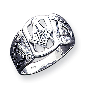 Antiqued Masonic Ring Size 10 - Sterling Silver