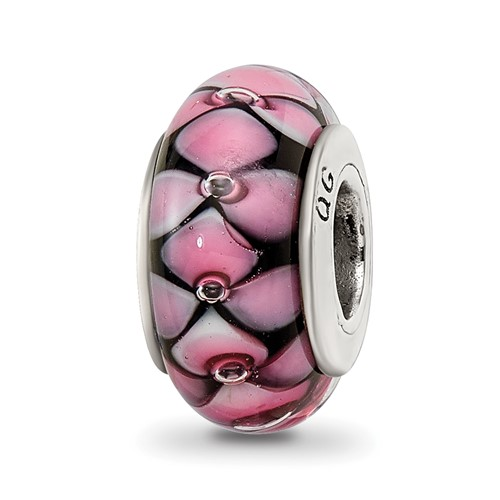 Sterling Silver Reflections Black Pink Hand-blown Glass Bead