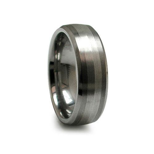 Edward Mirell 7mm Titanium Beveled Band Sterling Silver Inlay