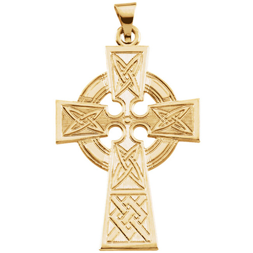 14kt Yellow Gold 1 1/4in Celtic Cross