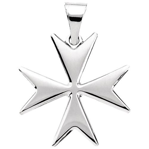 Sterling Silver 18mm Maltese Cross 18mm & 18in Chain