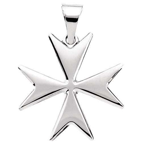 14kt White Gold 18mm Maltese Cross