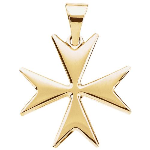 14kt Yellow Gold 18mm Maltese Cross