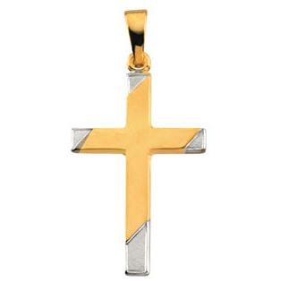 14kt Two-tone Gold 1in Hollow Cross - Clearance