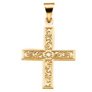 14kt Yellow Gold 3/4in Ornate Greek Cross