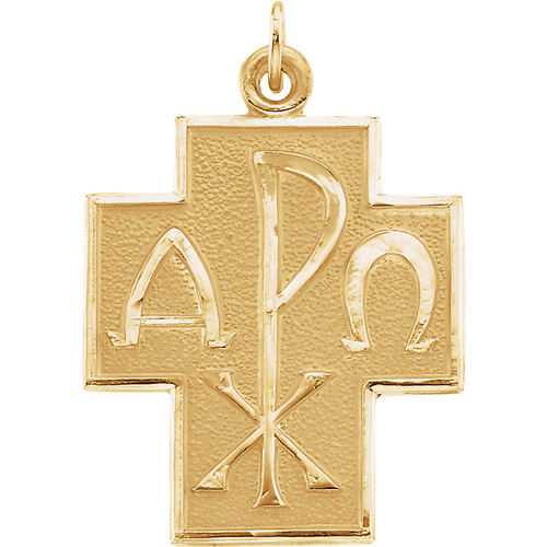 1in Alpha Omega Cross 14kt Yellow Gold