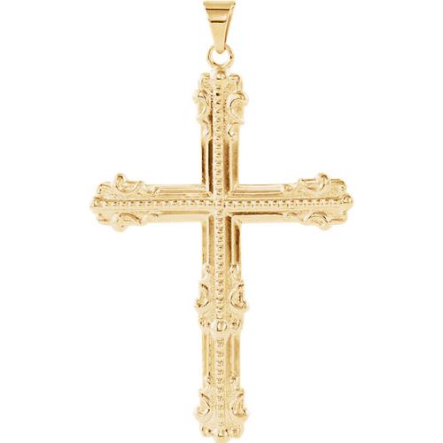 14kt Yellow Gold 1 3/4in Large Fancy Cross