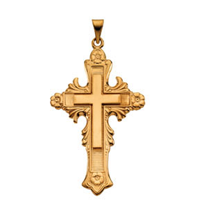 14kt Yellow Gold 1 3/4in Fancy Floral Cross Pendant
