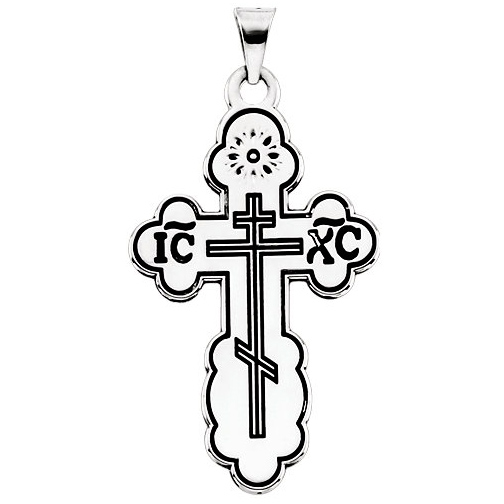 Sterling Silver 1 1/2in Black Enamel Orthodox Cross & 24in Chain
