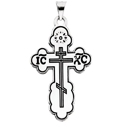 14k White Gold 1 1/2in Orthodox Cross Black Inlay