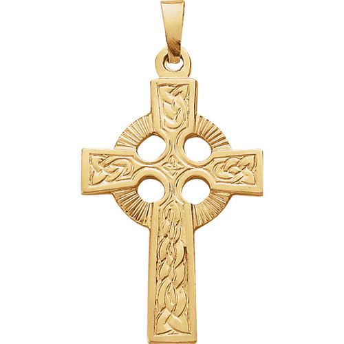 14kt Yellow Gold 1 1/2in Celtic Cross