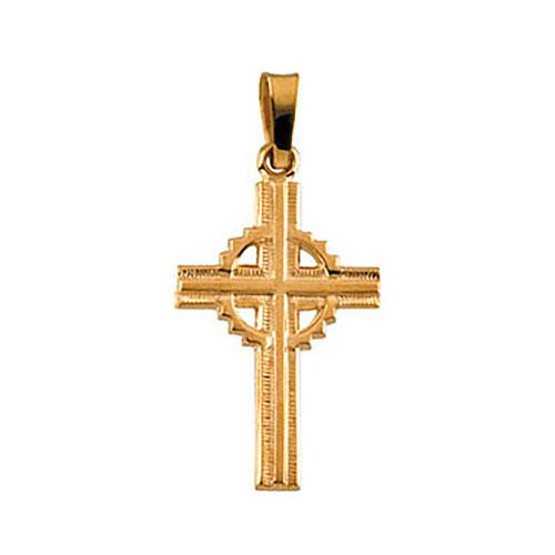 14kt Yellow Gold 3/4in Fancy Celtic Cross
