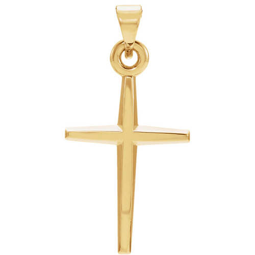 Tapered Cross 21x15mm - 14k Yellow Gold