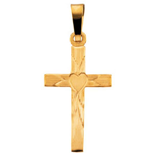 14k Yellow Gold Hollow Cross with Heart Pendant 25x16mm