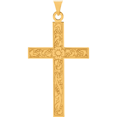 14kt Yellow Gold 7/8in Ornate Cross