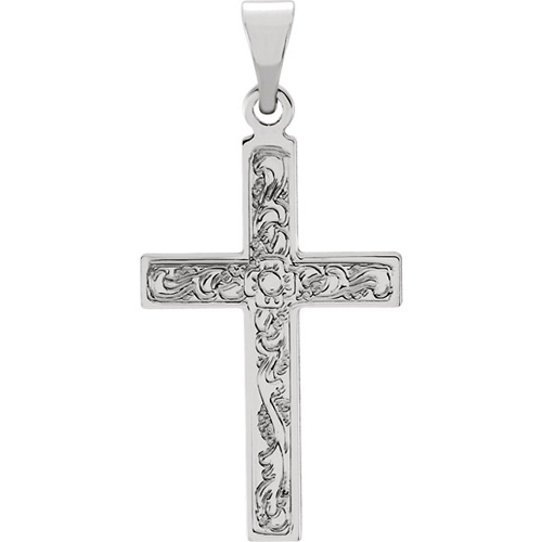 14kt White Gold Ornate Cross 28x18mm