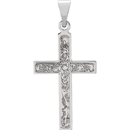 14kt White Gold Ornate Cross 18x12mm