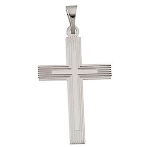 14kt White Gold Grooved Cross 18x12mm