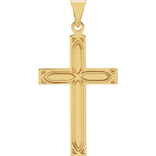 14KY Gold Cross Pendant 18x12mm