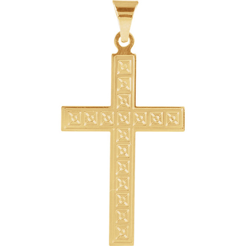 14KY Gold Cross Pendant 28x18mm