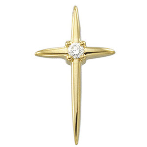 14kt Yellow Gold Cross with Diamond Accent