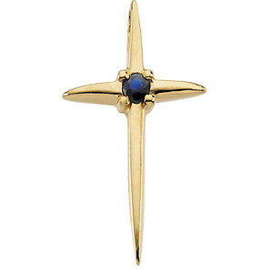 14kt Yellow Gold Cross Pendant with Sapphire - Clearance