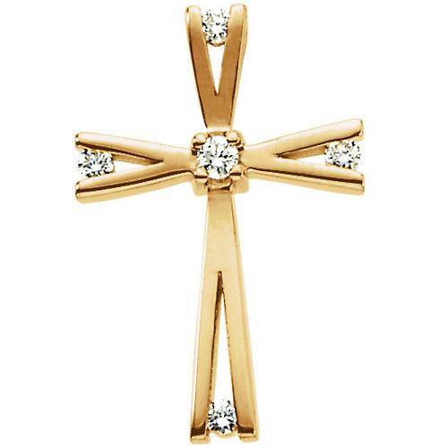 14kt Yellow Gold 3/4in .08 CT Diamond Cross