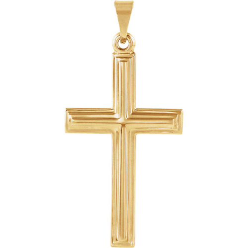 14kt Yellow Gold 1in Beveled Cross with Ridged Edges