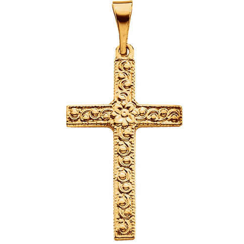 14k Yellow Gold 3/4in Floral Cross Pendant with Vine Design