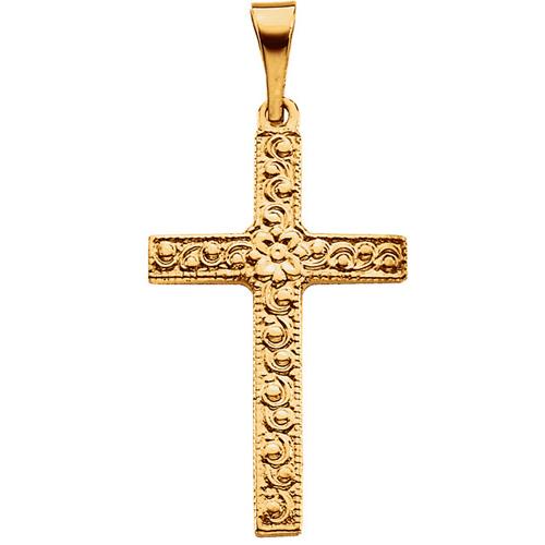 14KY Gold Cross Pendant 20x13mm
