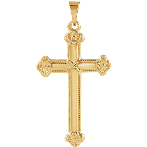 14kt Yellow Gold 1in Budded Floral Cross
