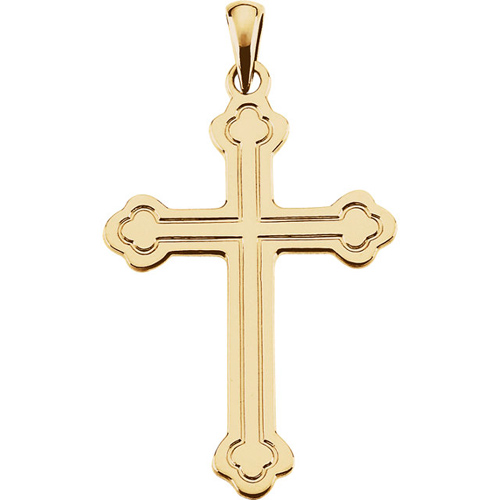 14kt Yellow Gold 1 1/4in Budded Grooved Cross