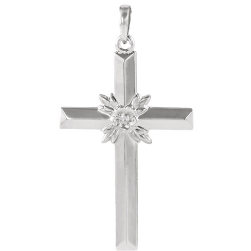 14kt White Gold Cross 29.5x19.5mm