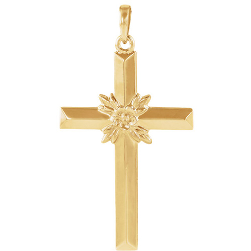 14kt Yellow Gold Cross 29.5x19.5mm