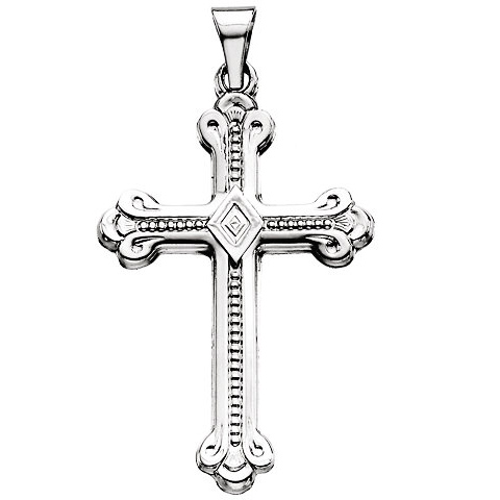 14kt White Gold 1 1/4in Budded Cross