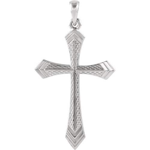 14kt White Gold 1 1/4in Passion Cross Pendant