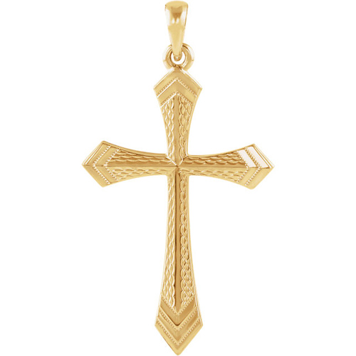 14kt Yellow Gold 1 1/4in Passion Cross