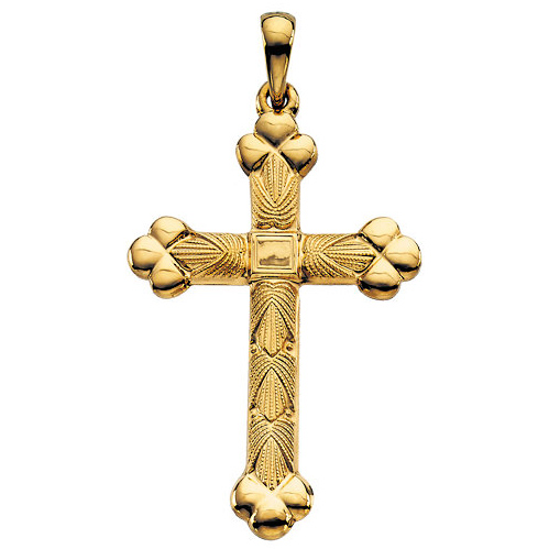 14kt Yellow Gold 1 1/4in Budded Cross