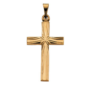 14kt Yellow Gold 7/8in Draped Cross