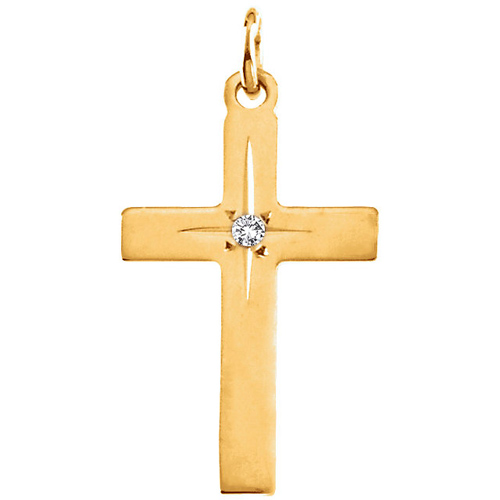 14kt Yellow Gold 1in Cross with Diamond Accent
