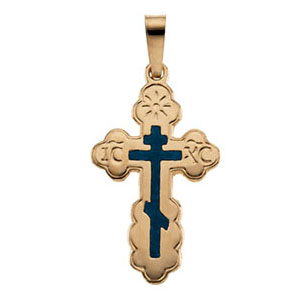 14kt Yellow Gold 3/4in Orthodox Cross with Blue Inlay