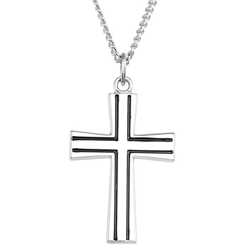 Sterling Silver 1 1/4in Striped Cross Pendant with 24in Chain