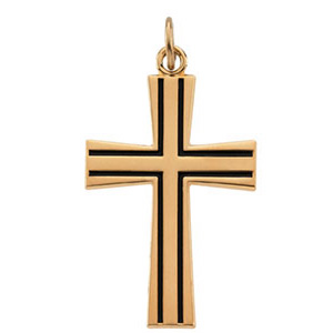 Yellow Gold Filled 1 1/8in Cross Pendant with 24in Chain