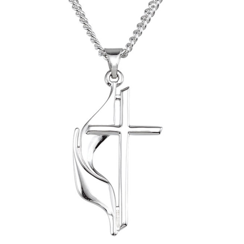 Sterling Silver 1 1/8in Methodist Cross and 24in Chain