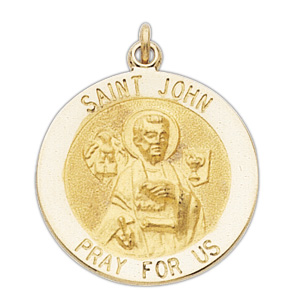 14kt Yellow Gold 15mm St. John the Evangelist Medal - Clearance